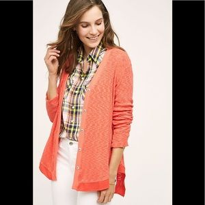 Anthropologie Left of Center Evie coral cardigan